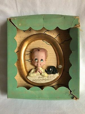 Vintage Freeman McFarlin Plaque of Boy and Dog Praying Original Box Nursery