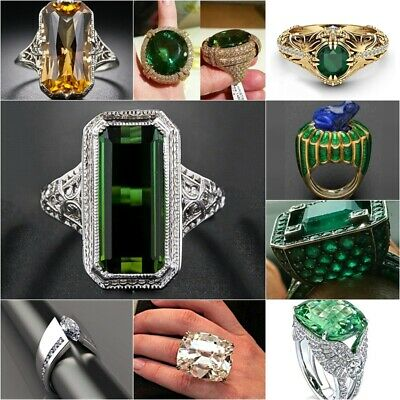 Huge White Topaz &Emerald 925 Silver Plated Jewelry Wedding Engagement Ring