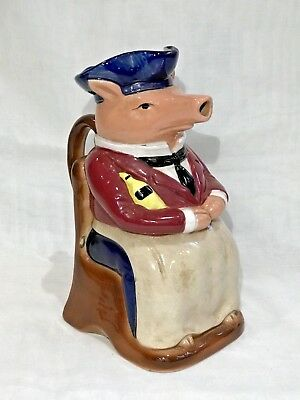 Antique Vintage French Onnaing Majolica Pig Pitcher Head-Waiter Pig