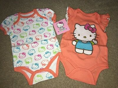 Hello Kitty Baby 2 Pack Bodysuit Size 3-6 Months NWT