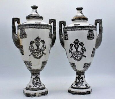 """Pair of Silver & White Signed Asian Porcelain Urns w/ Handles & Lids ~ 14"""""""