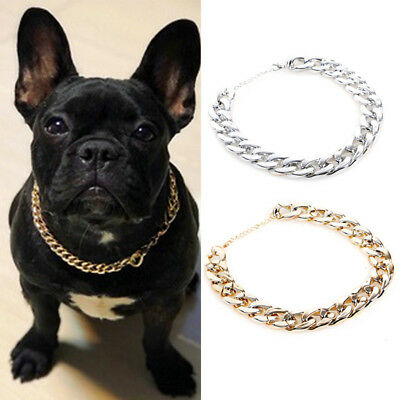 Pet Choke Chain Gold Silver Collar Necklace Small Cat Dog French Bulldog Teddy