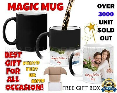 Personalised Magic Mug Cup Photo Text Surprise Fathers Day Birthday Anniversary