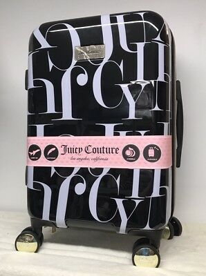 "8ea9f44f529f NEW Juicy Couture 21"" Suitcase Luggage Carry On Spinner Black White Hardside"