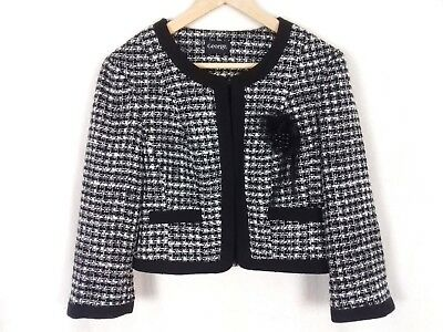 George Size 14 Black White Smart 3/4 Sleeve Formal Occasion Jacket