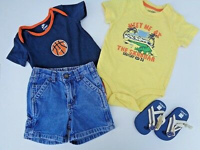 2655c817531c Lot of 4 Baby Boys Clothes Gap romper Nike Carter s shoes Shorts old navy 6-