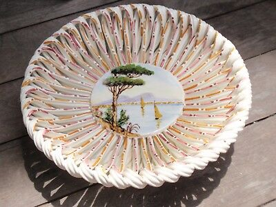 Vintage Hand Made/ Crafted Porcelain Dish Bowl Italy Pottery