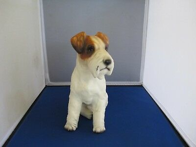 "'Vintage Japan Ceramic Wire Fox Terrier Dog Figure Large 9 1/2"" Tall"