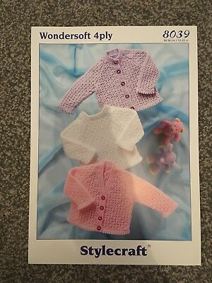 05509bb979b0 STYLECRAFT 4PLY KNITTING Pattern 8039 Prem Baby Jumper Cardigan 12 ...