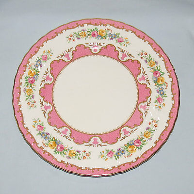 CROWN STAFFORDSHIRE ENGLAND PLATE TUNIS PATTERN pink colour 27CM DIAMETER