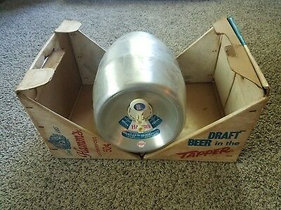 """Vintage HAMM'S BEER 2 1/4 Gallon Aluminum Keg """"Tapper"""" - Rare - With Packaging"""