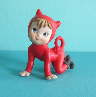Vintage Crawling Pixie Wearing 'devil's Costume' For Your Fairy Garden (Cute)