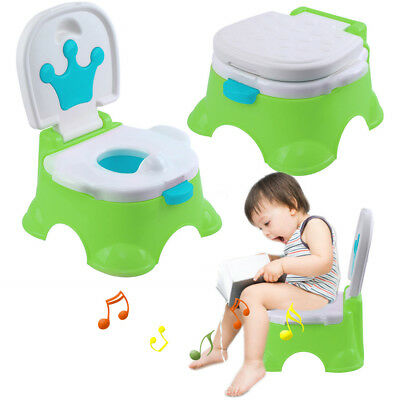 3 in 1 Baby Toddler Toilet Trainer Kid Music Potty Training Safety Seat Chair