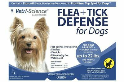 Vetri-Science Flea & Tick Defense For Dogs Up To 22 lbs, 3 Doses