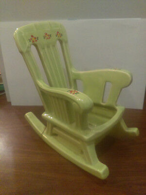 "McCoy USA Rocking Chair Planter - Pale Green, hand painted flowers. 9-5/8"" High"