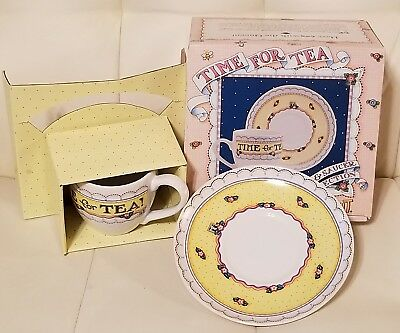 Mary Engelbreit Time for Tea Cup and Saucer Set Collectible NIB