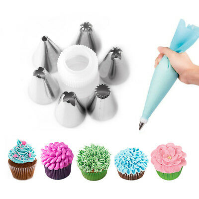 8Pcs/set Icing Piping Pastry Nozzles Pastry Bag Cake Dessert Decorating Tools