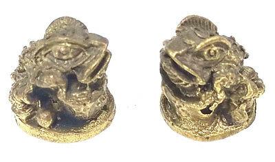 2 x Money Frog Toad Miniture Brass figures cast in India