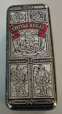 Chivas Regal 12 Yr Old Scotch Embossed Silver Tin w/Hinged Lid (Empty)