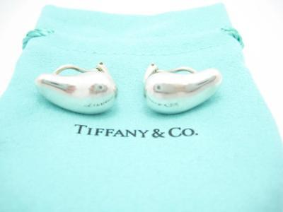 Tiffany & Co. Sterling Silver Elsa Peretti Bean Clip On Earrings Pouch Included