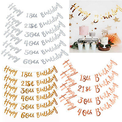 Silver Happy Birthday Bunting Banner 18th 21st 30th 40th 50th Party Decoration