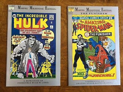 Marvel Milestone Hulk #1 and Spider-Man #129 Punisher First Appearance NM