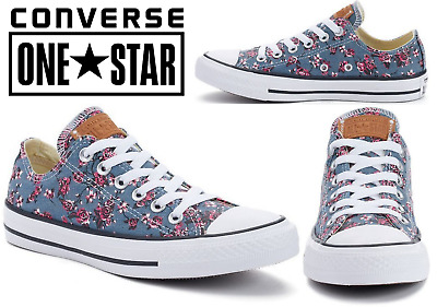 Converse All Star Denim Floral Unisex Shoes For Men Size 10 Or Women Size 12 136fb628a