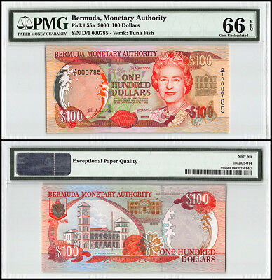 Bermuda 100 Dollars, 2000, P-55a, Queen Elizabeth II, Low Serial # 000785,PMG 66