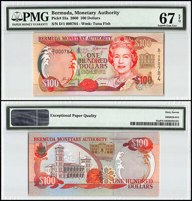 Bermuda 100 Dollars, 2000, P-55a, Queen Elizabeth II, Low Serial # 000784,PMG 67