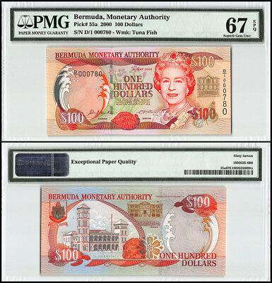 Bermuda 100 Dollars, 2000, P-55a, Queen Elizabeth II, Low Serial # 000780,PMG 67