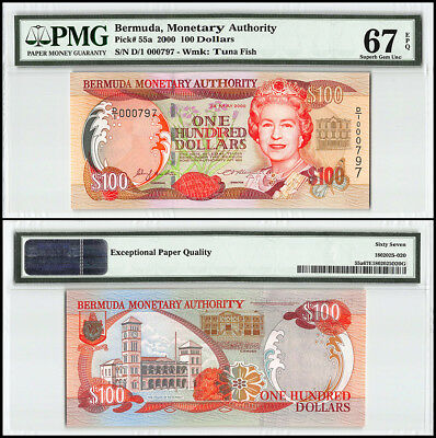 Bermuda 100 Dollars, 2000, P-55a, Queen Elizabeth II, Low Serial # 000797,PMG 67