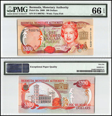 Bermuda 100 Dollars, 2000, P-55a, Queen Elizabeth II, Low Serial # 000782,PMG 66