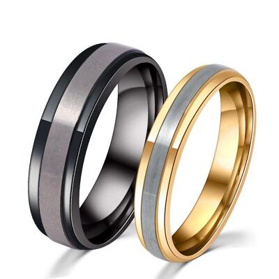 Gold Black Titanium Steel Silver Brushed Bands Men Women's Wedding Rings Sz 5-11