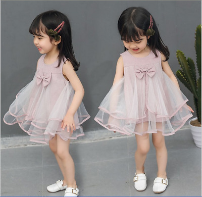 Kids Baby Girls Fashion Summer Cute Dress For Wedding Party Lace Princess Dress