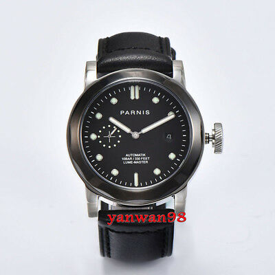 Parnis 44mm black dial PVD bezel polished case sapphire seagull automatic watch