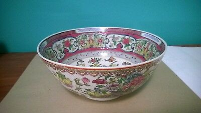 "Antique Vintage Oriental Hand Painted BOWL , Marked 4 1/4"" X 10 1/4"""