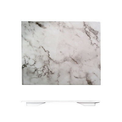 3x Melamine 325x265mm Plastic Tray Plate Platter White Marble Style Serving NEW