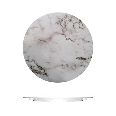 3x Melamine 330mm Round Plastic Tray Plate Platter White Marble Style Serve NEW