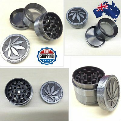 New 4-layer Herb Grinder Spice Tobacco Smoke Zinc Alloy Crusher Leaf Design AU