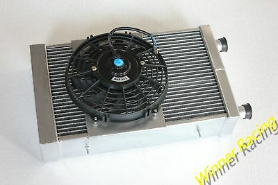 Aluminum Radiator &Fan Fit Lotus Europa 1.5L/1.6L 1966-1976 1967 1975 M/T 86mm