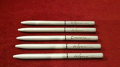 WYNN Pens. Set of 5. Blue Ink. Ivory with Gold Trim.