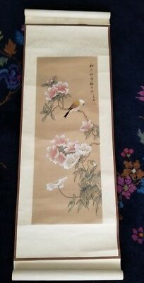 Antique Original Chinese Signed Stamped Watercolor Painting Scroll