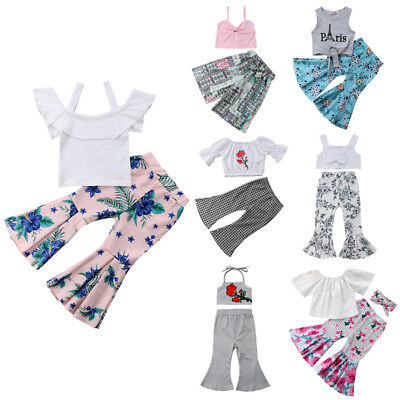 Toddler Kid Baby Girl Crop Vest Top+Bell-bottoms Long Pants Fashion Outfits Set