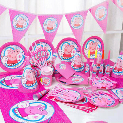 Peppa Pig Birthday Party Kids Girls Tableware Decoration Tablecloth Napkins Cups