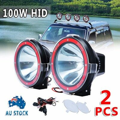 """Pair 7"""" inch 100W HID Driving Lights XENON Floodlights Offroad 4x4 Work 12V Red"""