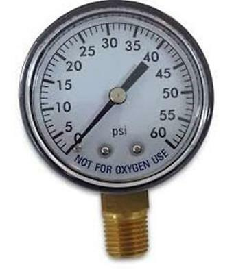 Super Pro 80960BU Pool Spa Filter Water Pressure Gauge 0-60 PSI Bottom Mount ...
