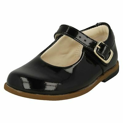 Infant Girls Clarks Patent Leather Buckle Casual School Bar Baby Shoes Drew Sky