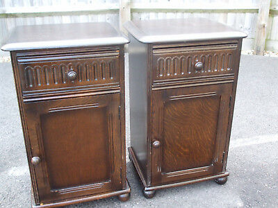 Pair of traditional solid oak bedside cabinets, good quality by Priory Furniture