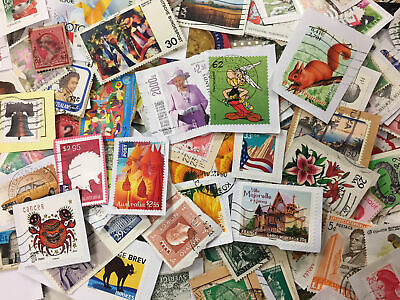 World Used Postage Stamp Mix on Paper NO GB - 800g - GENUINE CHARITY DIRECT