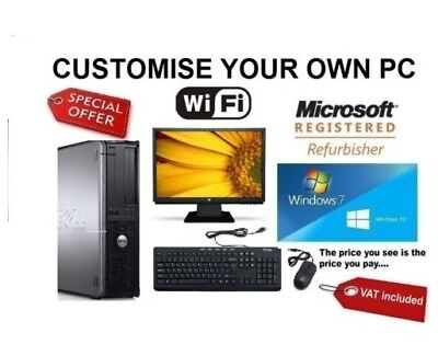 Full Dell/Hp Dual Core/Amd Desktop Tower Pc Tft Computer Windows 10 8Gb 2Tb